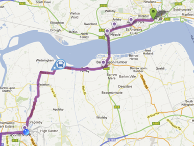 Realtime map of coach service progressing towards customer's location.