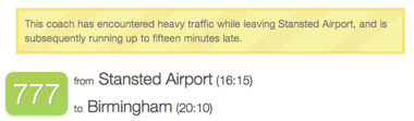 Notice of a delay for this service while leaving Stansted Airport